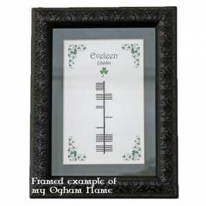 Framed example of Ogham Name