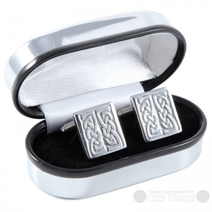 Pewter Cufflinks - Rentangle Double Knot