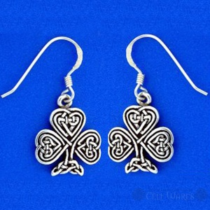 Shamrock Earrings with Celtic Inner Knot