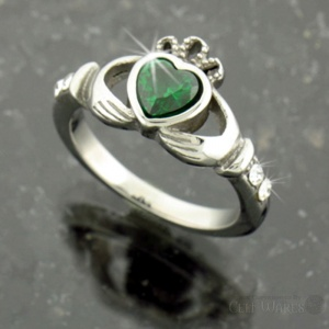 Stainless Steel Green CZ Claddagh Heart Ring